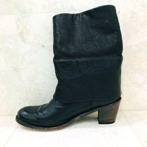 Black Cowboy Boots {10} INZUNZA Fold-Over